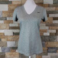 Nike Womens Sz S Dri Fit Shirt Running Workout V-Neck Short Sleeve Top Tee Gray