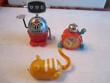"VINTAGE HERB TOY ROBOT 3 1/4"" TALL & TOMY MOUSE TOY & TOMY CLOCK TOY 2"" - BBA-4"
