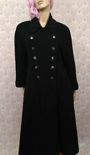 Vintage 80s Full Length Black Coat Womens 5 6 Wool Cashmere Double Breasted