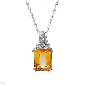 STUNNING SOLID 10K WHITE GOLD GENUINE CITRINE AND DIAMOND NECKLACE U$660