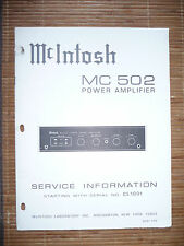 Service MANUAL per McIntosh MC 502, ORIGINALE