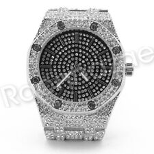 Men Iced Out Offset 14K Gold Silver PT Hip Hop Luxury Black Octagon Watch F16GS