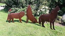 Edelrost Wolf / Hund / Wolfsgruppe XXL / Metall Gartendeko Rost Gartenstecker