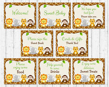 Cute Jungle Safari Animals Baby Shower Table Signs - 8 Printable Signs