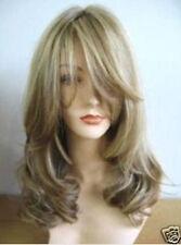 Women Medium Fashion Blonde Brown Mix Curly Hair Ladies Cosplay Costume Full Wig