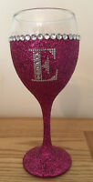 Pink Glitter Wine Glass personalised