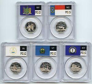 2003 S SILVER QUARTER PROOF SET PR69 ATB MA,ALA,ARK,ILL,MISS.MULTI FLAG HOLDER