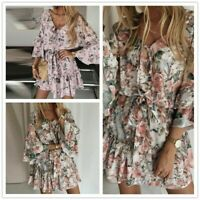 Maxi dress Holiday Floral Sundress Boho Women dresses V neck Beach Dress