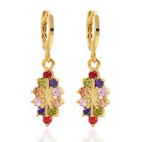 18K Gold Plated Multicolor AAA+ CZ Dangle Drop Earrings Jewelry  for Women Girls