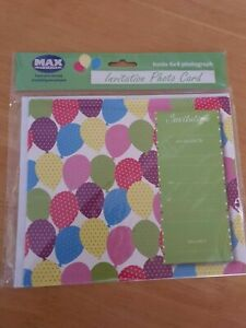 Max Spielmann Invitation Photo Cards With Envelopes Holds 6x4 Photo pack of 6