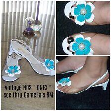 "Vtg Nos "" Onex "" Sexy See Thru Vamp Turquoise & White Flower Peep Toe Pumps 8M"