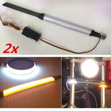 2X 12V Motorrad Gabel Blinker Blinklicht Schwingarm Lampe Weiß+Gelb Universal