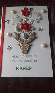 Handmade Personalsed Reindeer Christmas Card - C5 with envelope