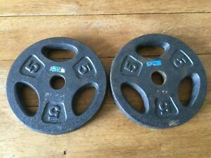 "2 x One Body 5 kg Weight Plates 5 Kilo Pair 5kg 1"" Centre Cast Iron"