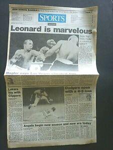 SUGAR RAY LEONARD BEATING HAGLER BOXING 1987 VINTAGE NEWSPAPER SPORTS SECTION