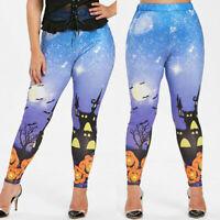 Fashion Women Plus Size Halloween Pumpkin Lamp Bat Print Casual Leggings Pant US