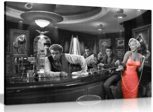 Marilyn Monroe Elvis Presley James Dean Red Dress Black & White Canvas Print