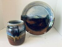 North American Pottery Plate & Vase Blue Brown Tan Glaze Signed Mark ....