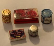 Dolls House Miniature 1/12th Scale Set Of 5 Assorted Shop Tins and Packets