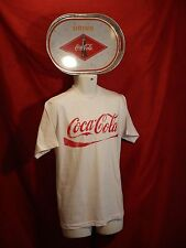 Coca Cola Galvinized Serving Tray Drink Bottle Logo Bubbles & Med Tee Shirt Lot