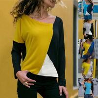 Fashion Women's Loose Blouse Patchwork Tops Shirts Splice Block Long Sleeve