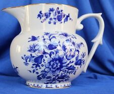 ETHAN ALLEN PITCHER BLUE AND WHITE DESIGN GOLD TRIM