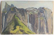 Ancienne Huile sur Papier Peinture Esquisse peinte Paysage Montagnes Cascades