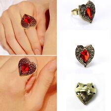 Retro Crystal Red Rhinestone Love Heart & Alloy Angel Wing Finger Ring DIY Gift