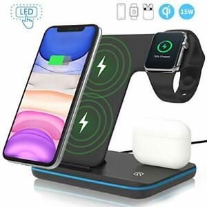 Wireless Charger,ZHIKE 3 in 1 Qi-Certified 15W Fast Charging Station for Apple