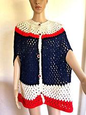 Vintage Crocheted Poncho  Cape Jacket Shawl Sweater Fourth Of July Boho Top