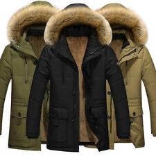 Winter Mens Warm Hooded Parka Winter Thicken Fleece Coat Outwear Jacket Overcoat
