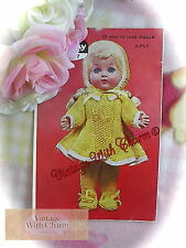 Vintage 50s Knitting Pattern Baby Dolls 3 Piece Outdoor Clothes Set Just