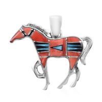 925 Sterling Silver Black Onyx Turquoise Horse Pendant Southwest Jewelry Ct 2.4