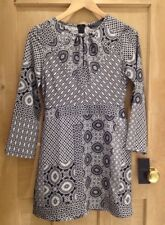 ZARA DRESS Size S 6 8 BNWT Black White BOHO Geometric PATTERN
