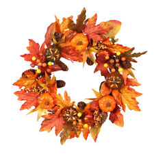 Halloween Autumn Maple Leaves Wreath Pumpkin Artificial Garland Party Door Decor