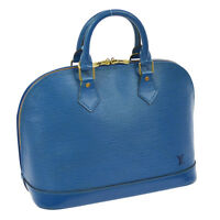 100% AUTHENTIC LOUIS VUITTON ALMA HAND TOTE BAG BLUE EPI LEATHER M52145 BT12543