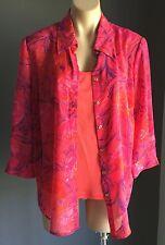 Beautiful Stylish NONI B Pink, Purple & Orange Cami & Shirt Set Size12