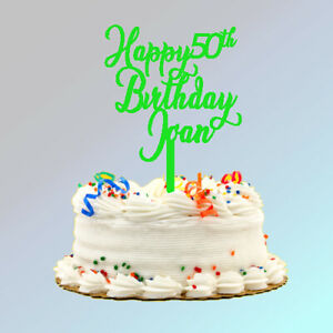 Custom Happy Birthday Cake Topper (Plastic) 6 inches wide, 7.5 inches tall