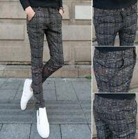 Korean Chic British Mens Casual Pencil Pants Dress Formal Slim Fit Plaid Trouser