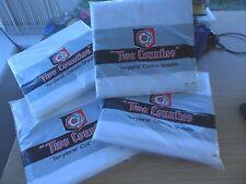 1 Vintage White Cotton Double Sheet 90 x 104ins 228 x 264 cm UNUSED Entièrement neuf sous emballage 4 availa