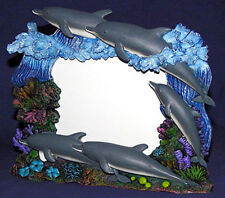 """NEW DOLPHIN RESIN TABLE-TOP PHOTO/PICTURE FRAME ~ 7"""" X 8""""~ Plastic Front Panel"""