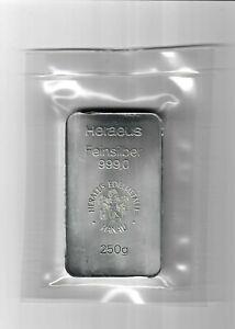 250g Heraeus Feinsilberbarren - 999