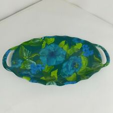Floral Blue Green Oval Melamine Serving Tray Platter with Handles
