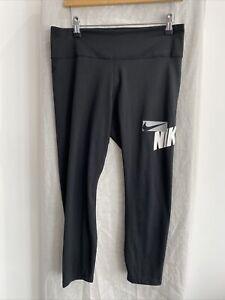 NIKE DRI-FIT Black Cropped Leggings Size UK L