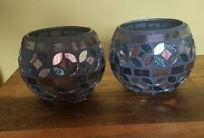 New silver mosaic globe/ Glass Ball Tea light Candle Holder For wedding/Xmas.