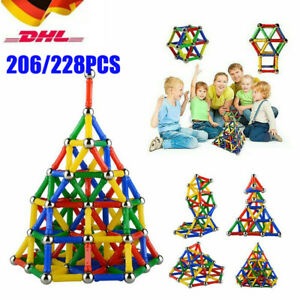 206tlg Blocks Magnetic Building Magnetische Bausteine Blöcke Kinder Spielzeug DE