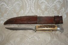 """Vintage CASE Fixed Blade Hunting Knife w Stag Handle & Leather Sheath ~ 4"""" blade"""