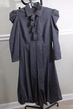 TONELLO Women's Grey Button Pleated Shoulder Pad Dress Size 40 (DR800