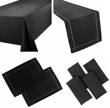 LINEN LOOK BLACK TABLE CLOTHS PLAIN BIRTHDAY / PARTY / CHRISTMAS OCCASIONS