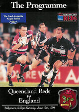 ENGLAND 1999 RUGBY TOUR PROGRAMME v QUEENSLAND, AUSTRALIA 19th June at Ballymore